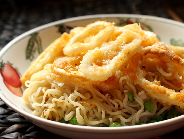 Lazy Crispy Calamari Noodle Dish