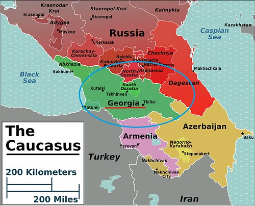Mapa de Georgia en el Cáucaso