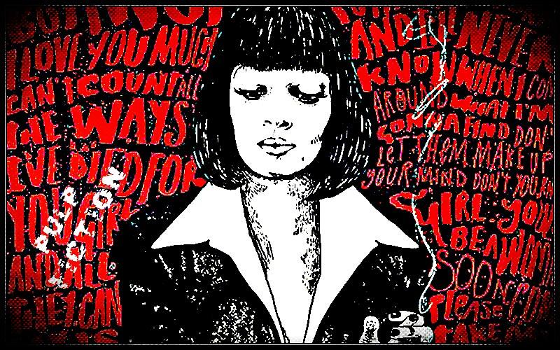 PULP FICTION Art Illustration Black White Red