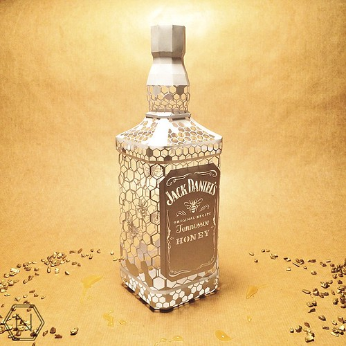 Dimensional Cut Paper Jack Daniel's Bottle by Norman Von Schmeling