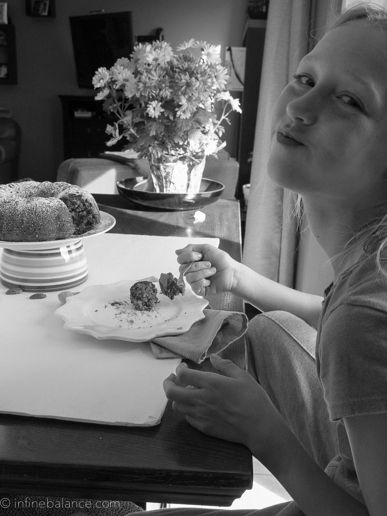 photo set up for chocolate chip bundt cake black & white photo