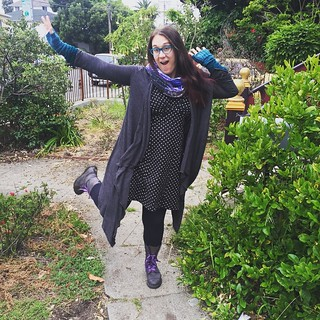 More outfit posts. It's only for May though! #mmmay15 #colettepatterns parfait dress, wrap cardigan from a #megannielsenpatterns tutorial, and hand-knit arm warmers.
