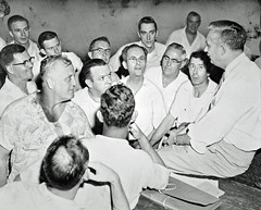 Union President With Members After Strike Ends: 1955