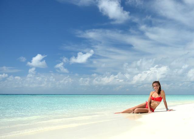 Diana posando en la isla de Odagalla, el paraiso