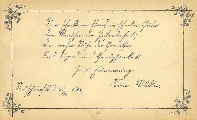 Gertruds Poesiealbum, Eintrag aus dem Jahr 1904, Deutsche Kurrentschrift