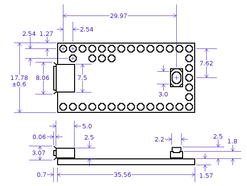 Teensy 3.2 Dimensions