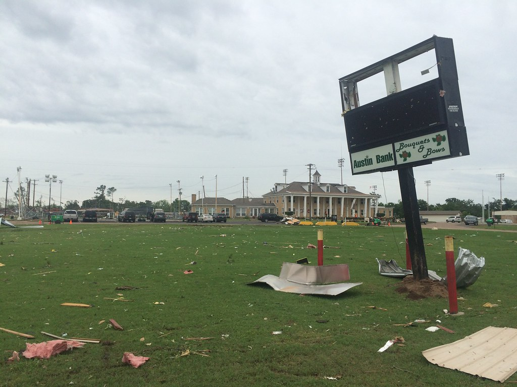 Catastrophe Tornado Storm damage in Van Texas