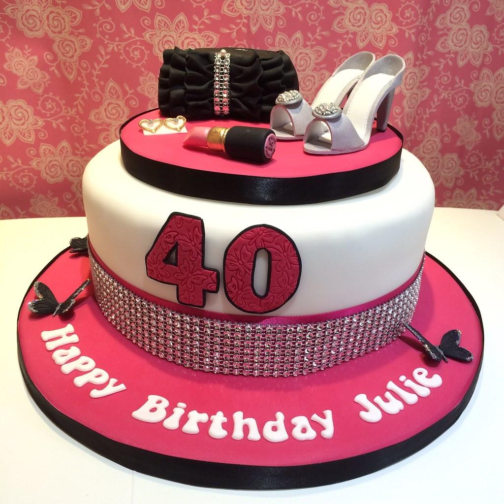 Ladies Pink Black Amp White 40th Birthday Cake