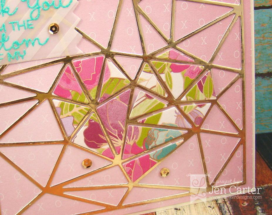 Jen Carter Faceted Heart Thanks Card Lil' Inker Closeup