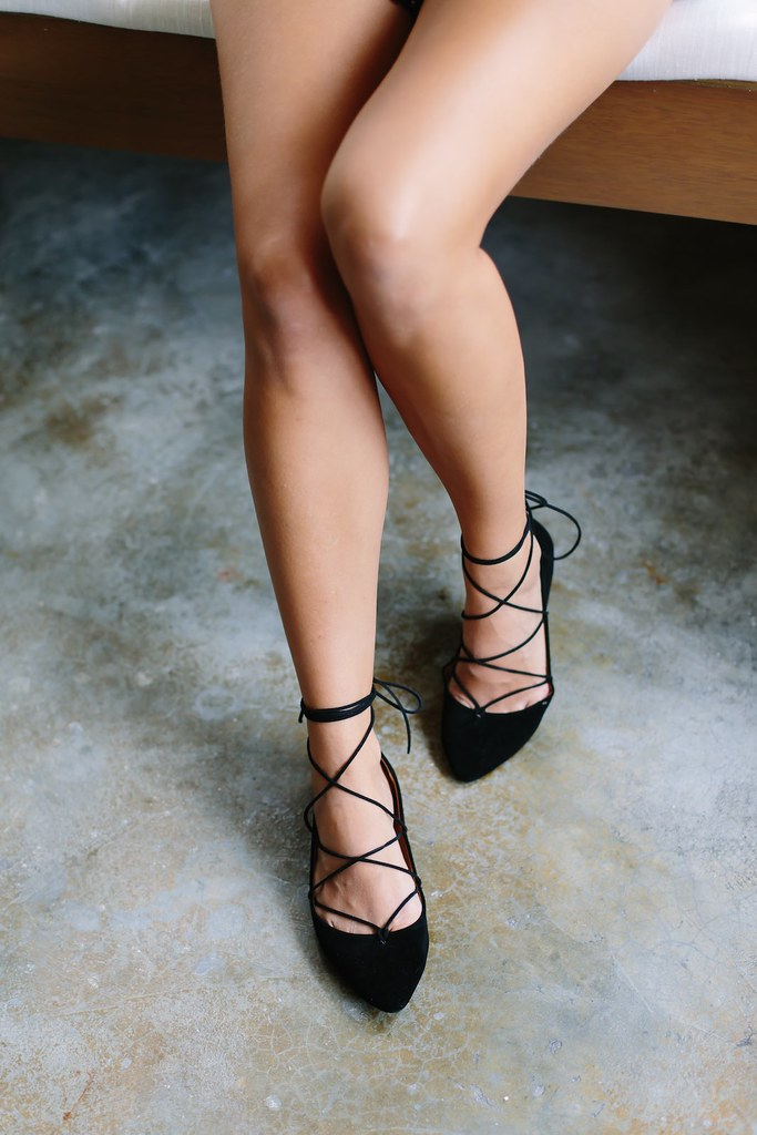Black Lace Up Ballet Shoes