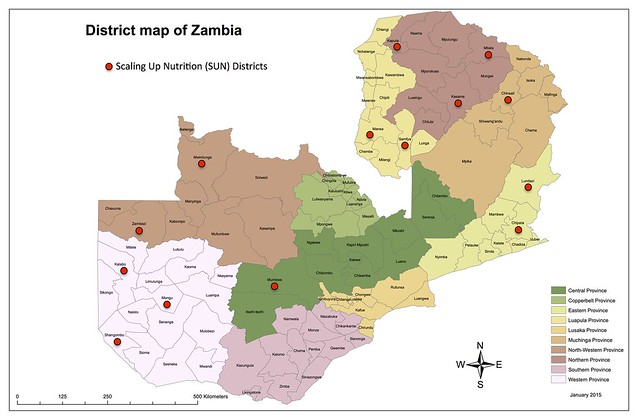 Map of Zambia - SUN Districts