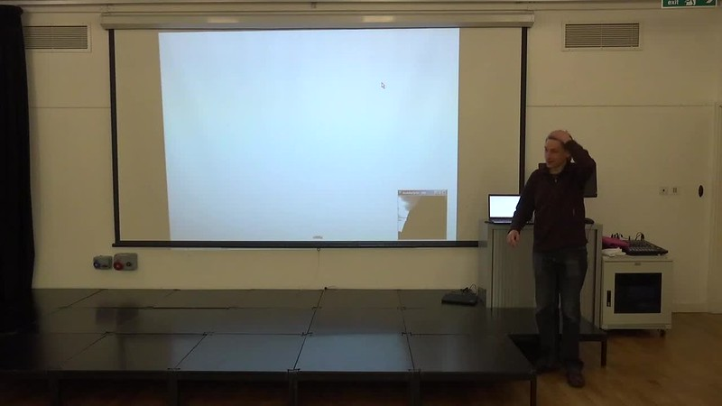 Alistair presenting what he did at Wuthering Hacks
