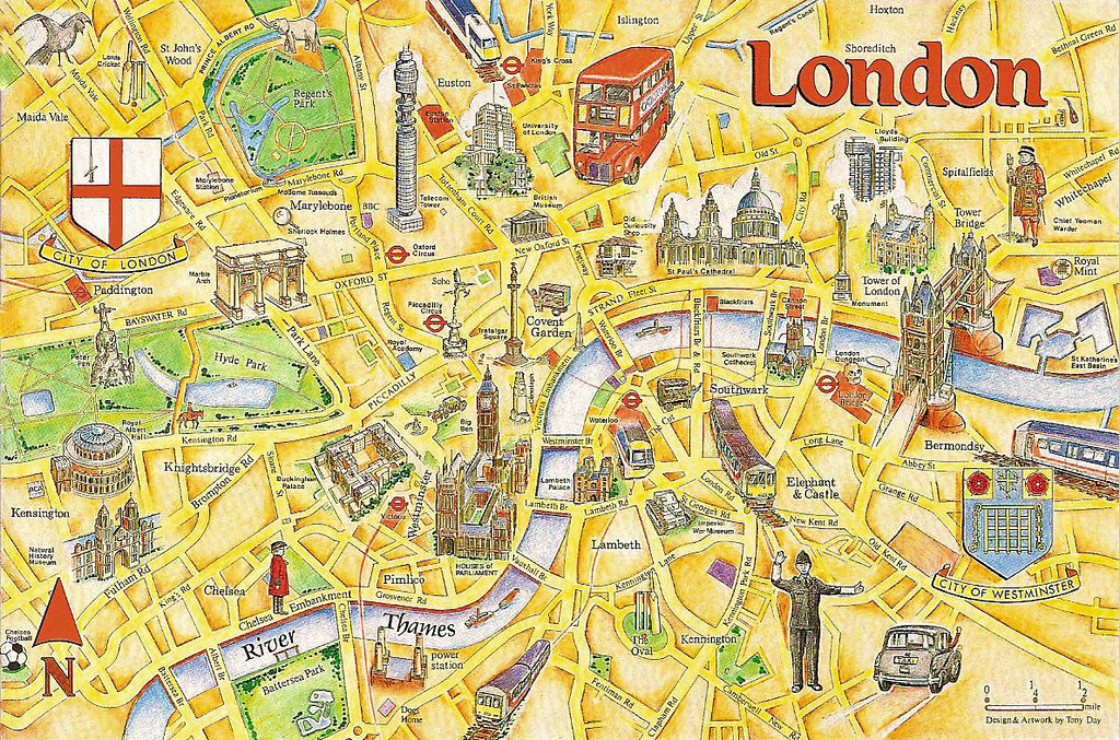 London Tourist Map An Early 1990s Postcard Showing The