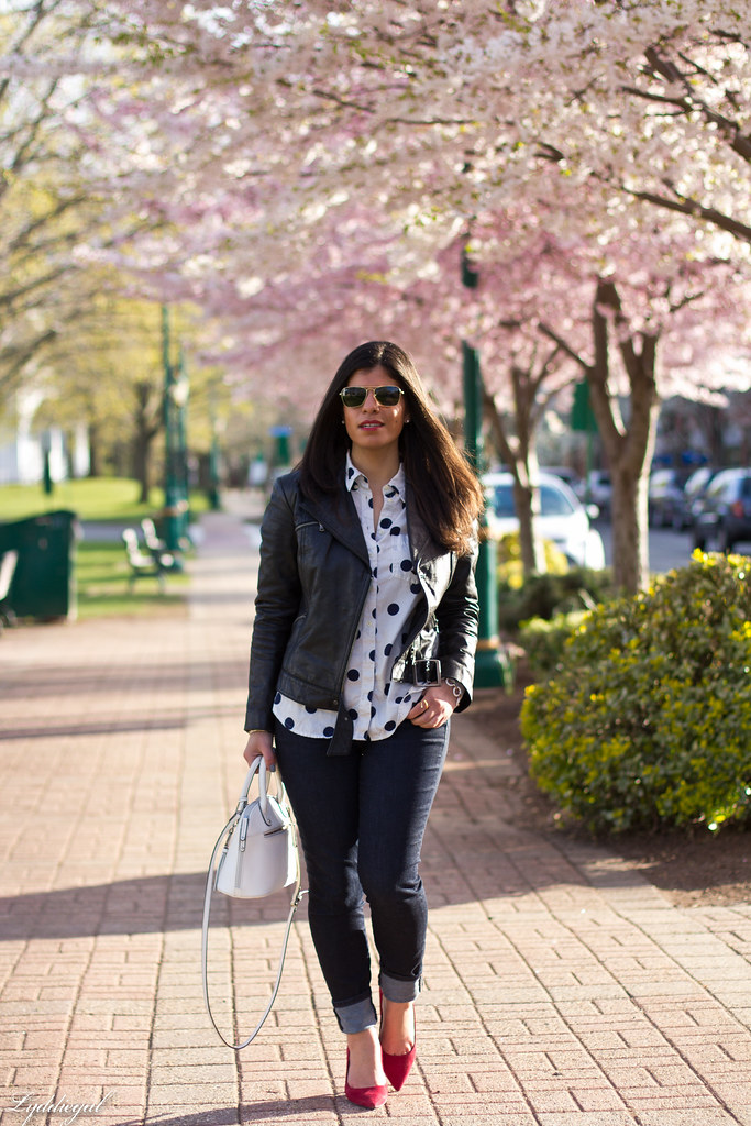 polka dot shirt, leather jacket, red pumps.jpg