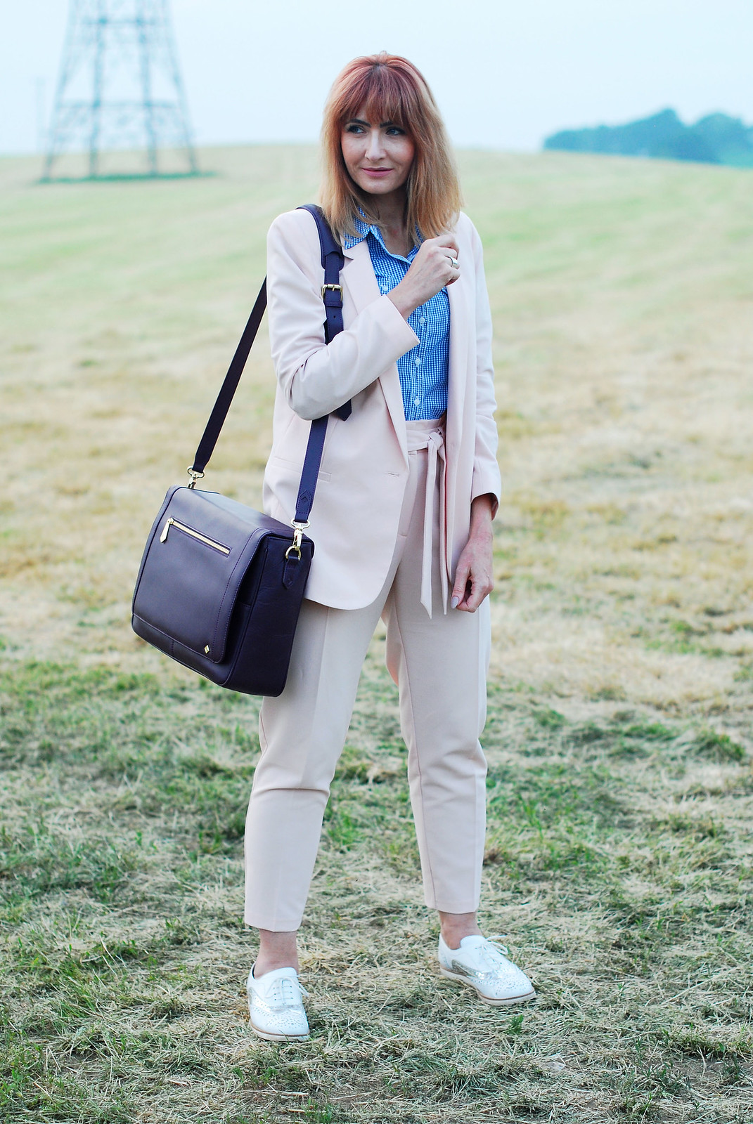 Summer workwear: Pale pink trouser suit, blue gingham shirt, white/silver brogues, Jennifer Hamley Model KT Workbag in Aubergine | Not Dressed As Lamb