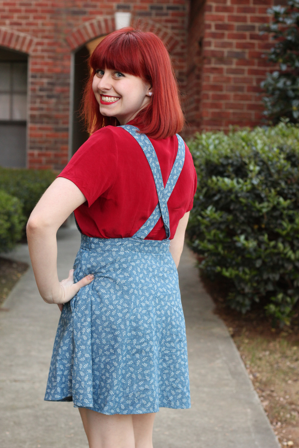 Crisscross Back Denim Overall Dress with a Red Silk Shirt