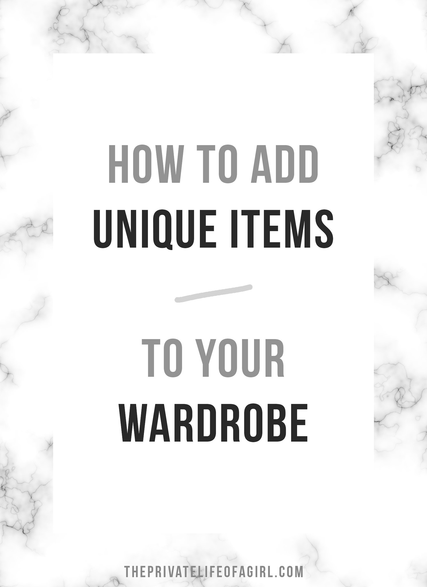 Adding Unique Items To A Minimal Wardrobe