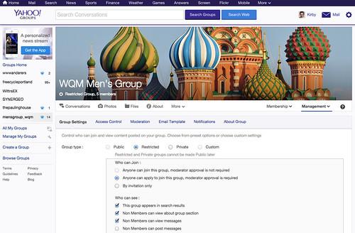 WQM Mens Group:  Group Settings
