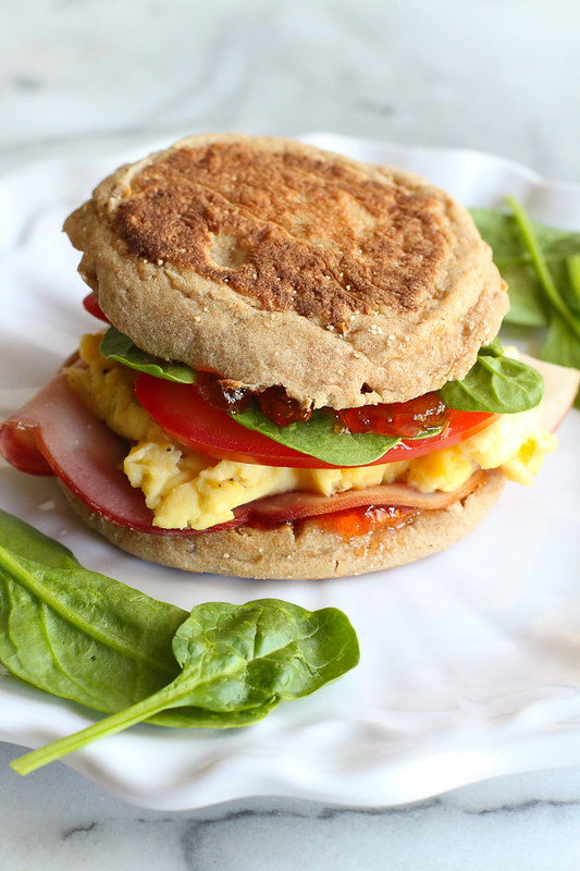 Egg Breakfast Sandwich with Pepper Jelly & Spinach…The breakfast sandwich to beat all others! 255 calories and 8 Weight Watchers SmartPoints   cookincanuck.com