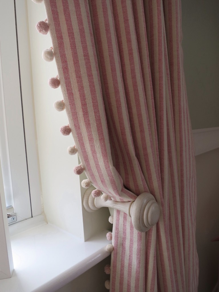 Striped curtains with pom pom trim a pair of full length p