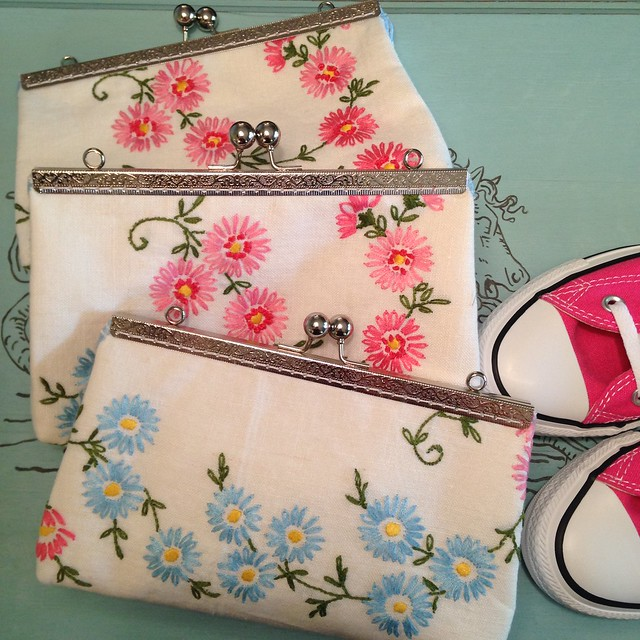 Upcycled Tablecloth Clutch Purses