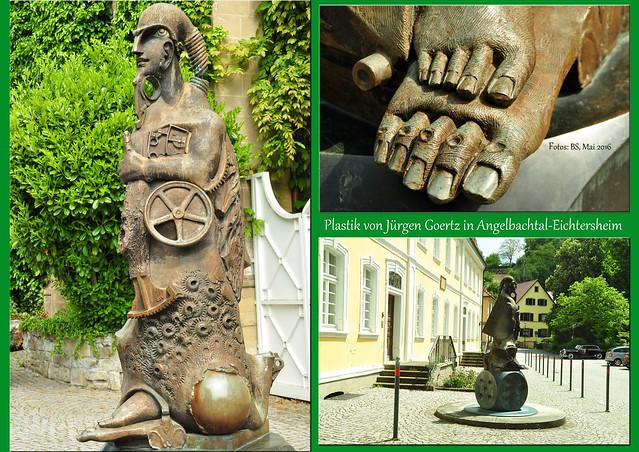 """Mai 2016. Ein Besuch in Angelbachtal-Eichtersheim lohnt sich nicht nur wegen des idyllisch gelegenen Wasserschlosses derer von Venningen, das ich HIER gezeigt habe. Sehenswert sind auch die Kunstwerke des ortsansässigen Künstlers Prof. Jürgen Goertz (siehe """"Heckers Traum""""), der zusammen mit seiner Frau in der ehemaligen Schlosskirche ein Atelier hat. Plastiken von Prof. Goertz kannte ich schon aus Heidelberg und von der Kilianskirche in Heilbronn (Christophorus). In Angelbachtal befinden sich seine großen Figuren im und um den Schlosspark, zum Beispiel """"Chariot"""" und """"Cow-Riosity"""". Fotos Brigitte Stolle 2016"""
