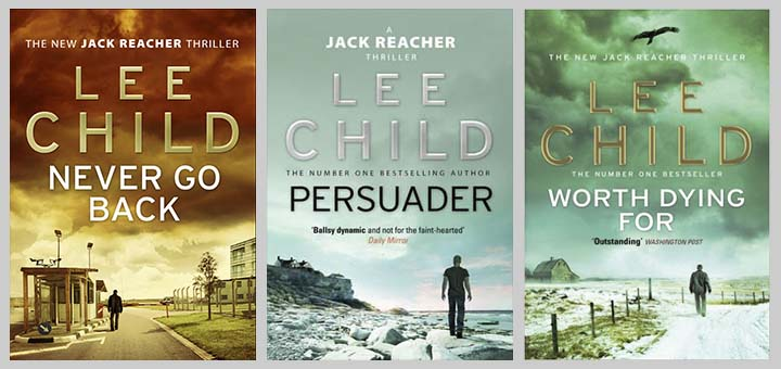 lee child trio of book covers