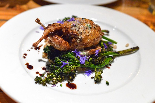 PERIGORD TRUFFLE STUFFED TOLENAS FARM QUAIL WITH FARRO, BROCCOLINI AND AGED BALSAMICO