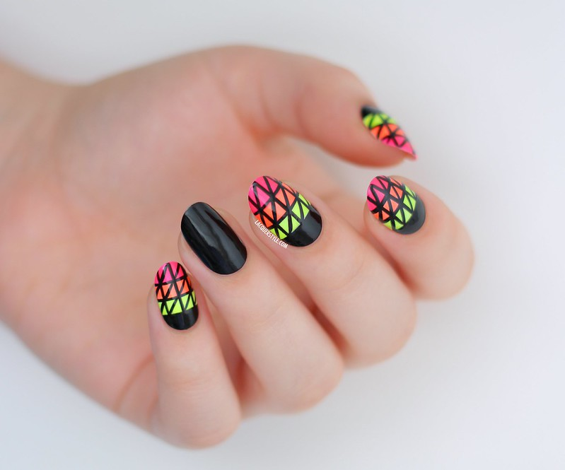 neon hand painted triangle pattern geometric nails half moon nail art color club tangerine scream orly glowstick china glaze loves a beach tutorial lacquerstyle kgrdnr