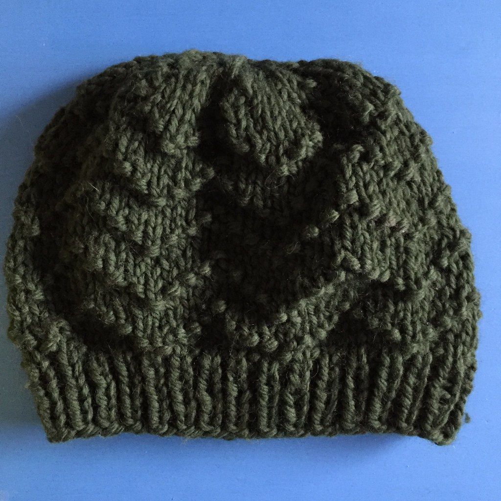 green chevron big wool beanie