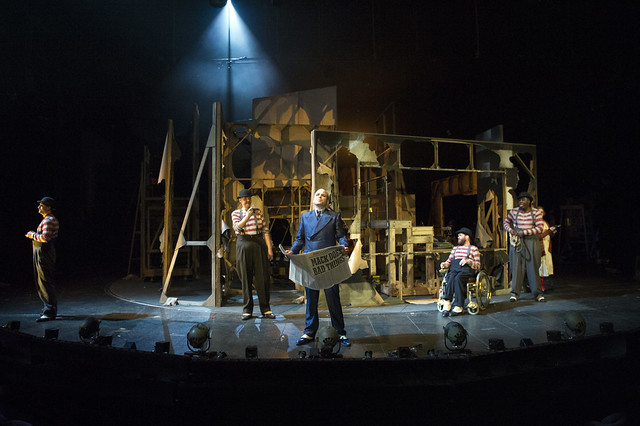DOMINIC TIGHE (Robert), ANDREW BUCKLEY (Walter) , RORY KINNEAR  (Macheath), JAMIE BEDDARD (Matthias), HAMMED ANIMASHAU N (Jimmy)   Photo credit:  Richard H Smith