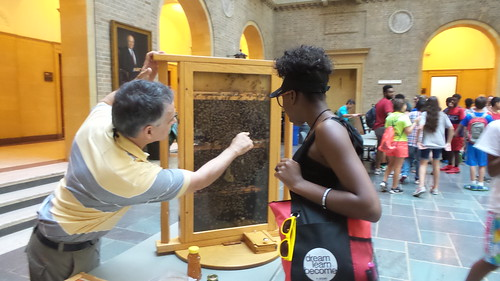 Francisco Posada explaining how a honey bee hive is structured