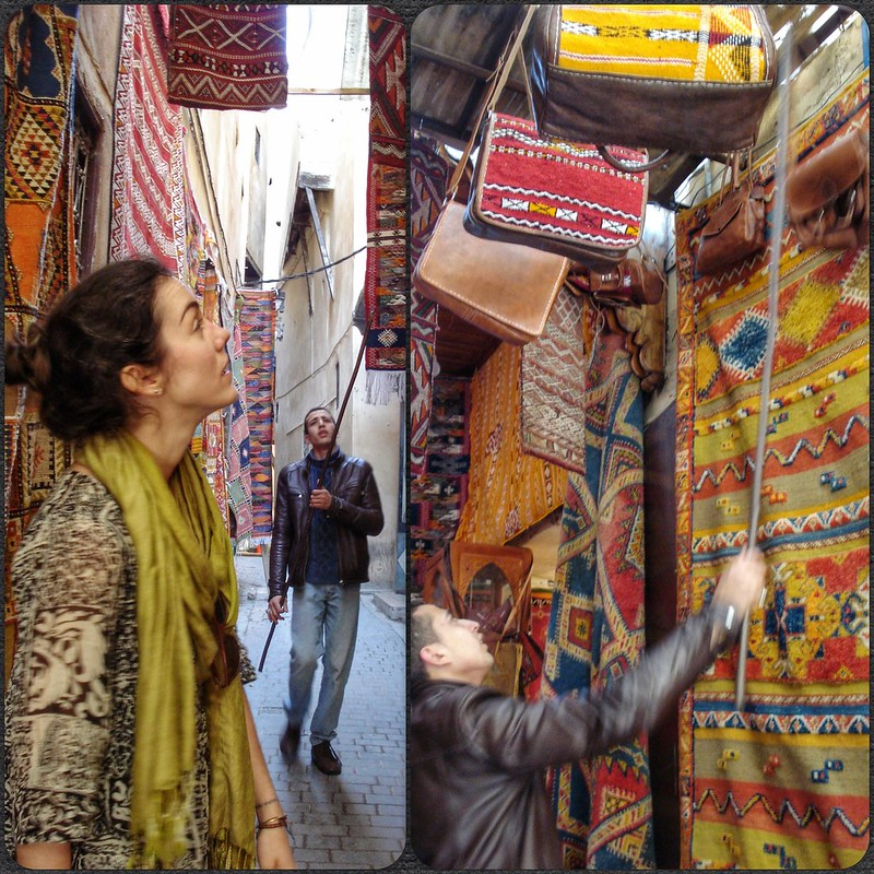Flora buying bags in Fez medina