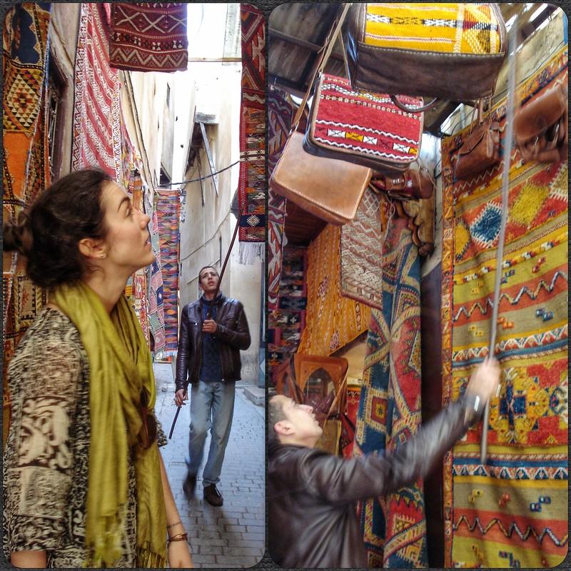 Flora buying bags in Fez medina