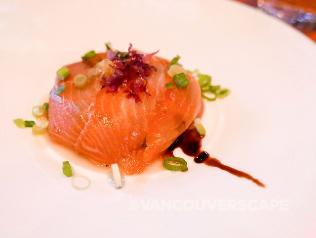 Smoked salmon gateau, Hana Tsunomata seaweed, rice vinegar & maple syrup vinaigrette, balsamic reduction