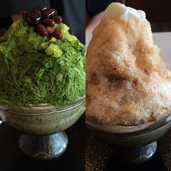 matcha for hubs coffee for me, shave ice! #matcha #coffee #yukinoshita #箕面キューズモール #osaka #大阪 #抹茶 #カキ氷 #雪の下