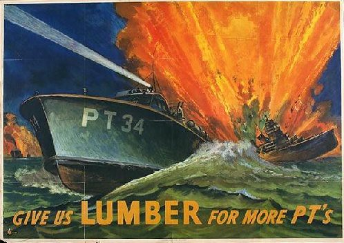 World War II Poster - give us lumber