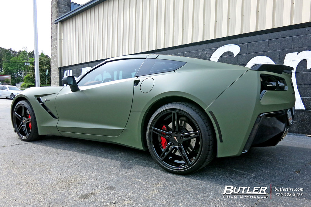 Matte Army Green Chevy Corvette With 19in And 20in Cray Br