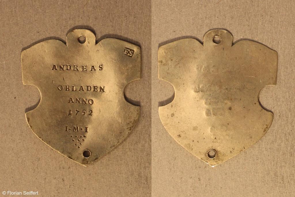 Koenigsschild Flittard von obladen andreas aus dem Jahr 1752