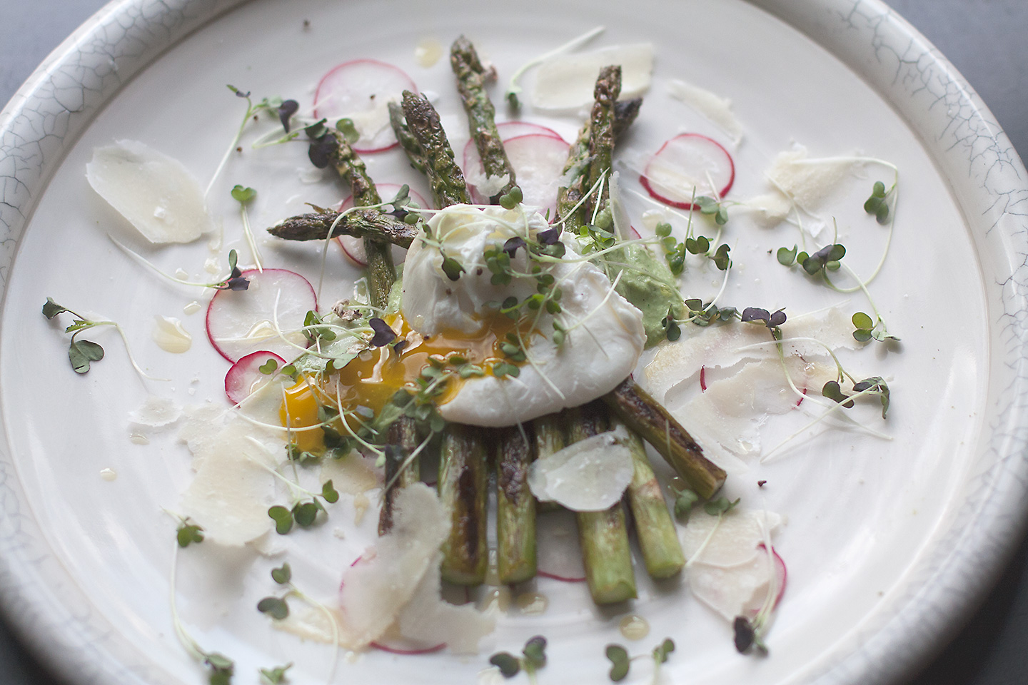 Grilled Asparagus with English Pea and Mint