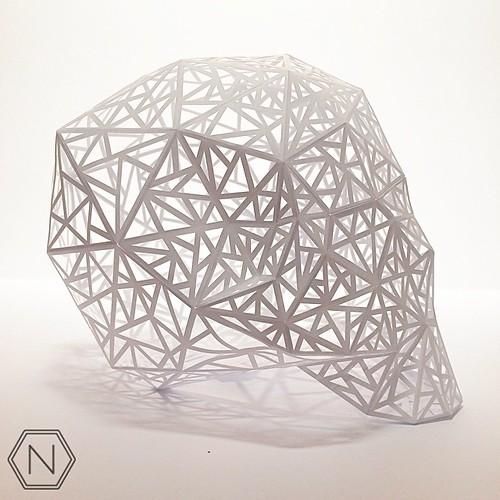 Dimensional Cut Paper Skull by Norman Von Schmeling
