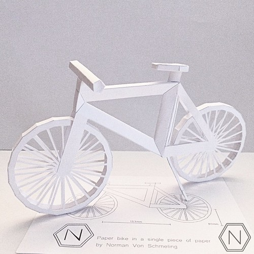 Dimensional Cut Paper Bicycle by Norman Von Schmeling