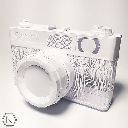 Dimensional Cut Paper Canonet Canon AL-17 by Norman Von Schmeling