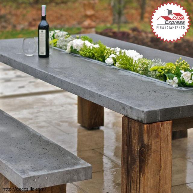 Esta mesa de concreto para el jard n es hermosa les gust - Jardineras de cemento ...