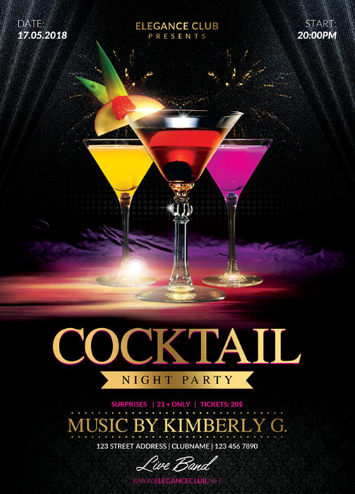 cocktail night party flyer template