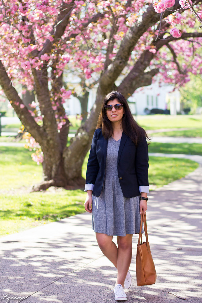 grey sweatshirt dress, navy blazer, white converse-2.jpg