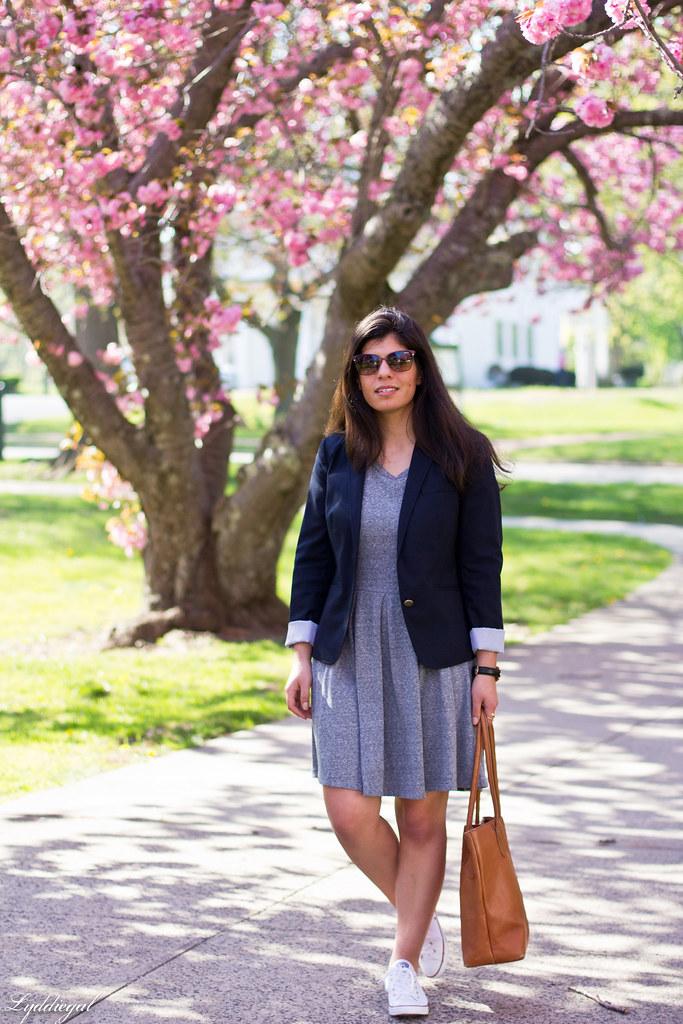 grey sweatshirt dress, navy blazer, white converse-2.jpg