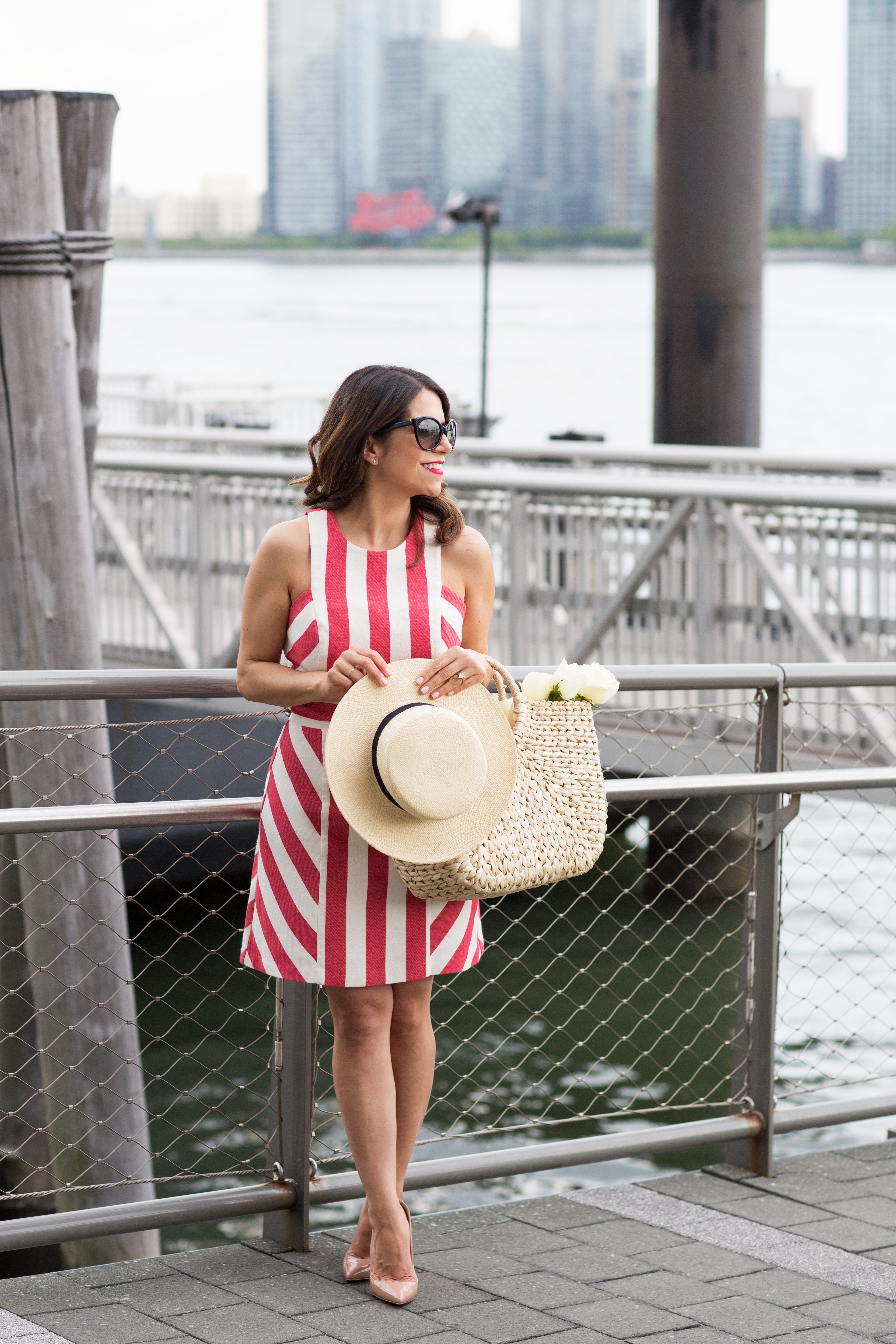 Rent the Runway red and white Mily dress with woven tote Christian Louboutin Pigalle with hat for the summer on Corporate Catwalk