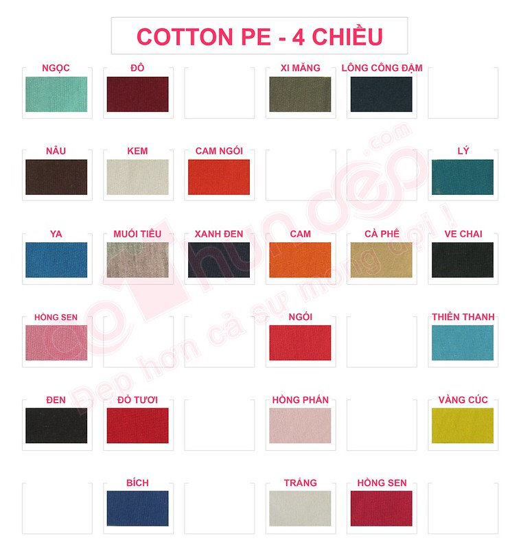 Bảng màu vải áo thun cotton PE 4 chiều
