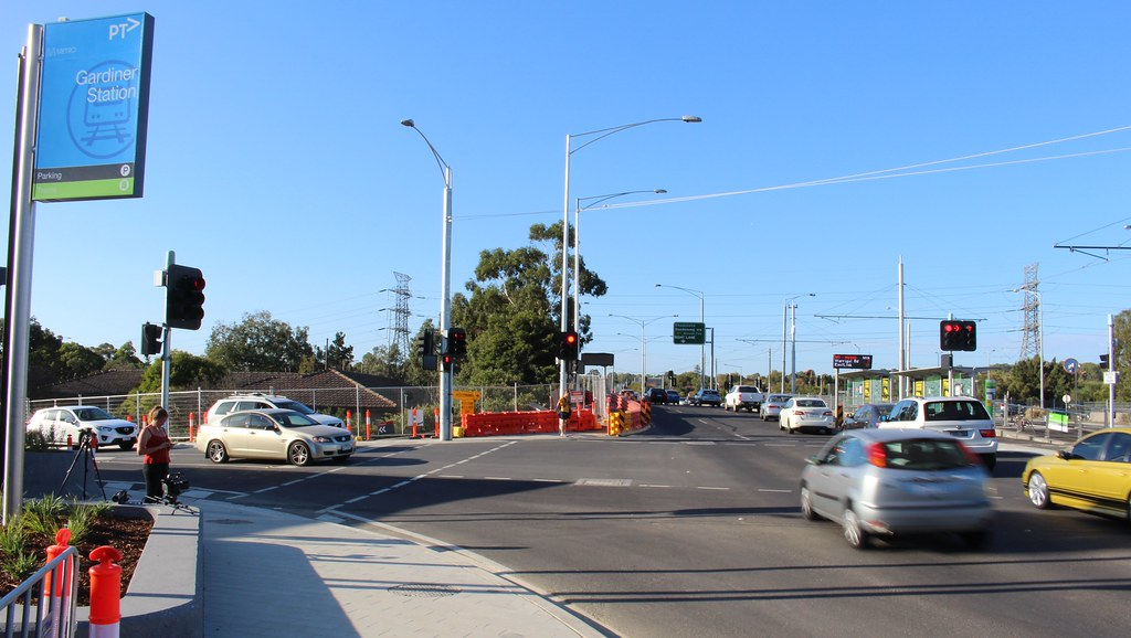 Gardiner station and nearby tram stop, March 2016
